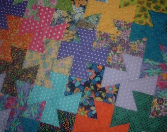 Swirling Pinwheels Bright Multicolor Polka Dots Florals,Finished Quilt Wallhanging Lap Quilt 51 x 51 inches