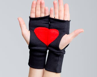 Jersey Arm Warmers , mother day gift Fingerless Gloves Woman Mittens Red Heart Gloves Wrist length Texting Gloves A0063