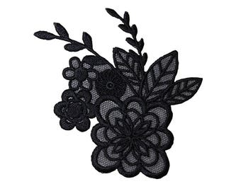 Lace Black Flowers Iron On Applique, Lace Flowers Iron On Patch, Flowers Applique, Floral Patch, Embroidered Patch, 3.5 x 4 inches