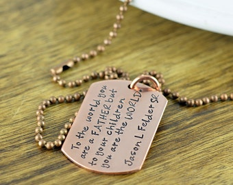 Copper Hand Stamped Mens Necklace, Personalized Dog Tag Necklace ,Mens Personalized Jewelry, Fathers Day Gift