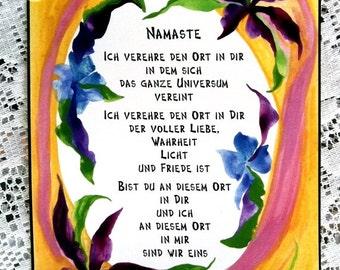 NAMASTE German Deutsch Inspirational Words Motivational Sayings Yoga Meditation Home Decor Love Blessing Heartful Art by Raphaella Vaisseau