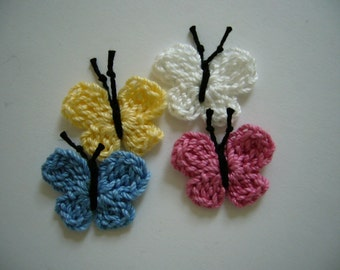 Crocheted Butterflies - Blue, Rose, Yellow and White - Cotton Butterflies - Butterfly Embellishments - Butterfly Appliques
