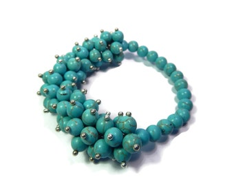 Oasis Anemone - Turquoise Blue/Silver Bracelet - Hand Looped/Beaded Cluster Stretch - Howlite Gemstone - Mishimon Designs
