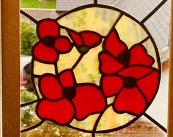 Poppy Sun stained glass panel