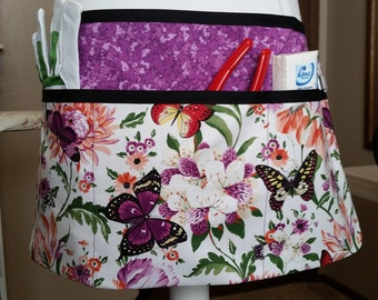 Beautiful butterfly garden apron with purple background #4