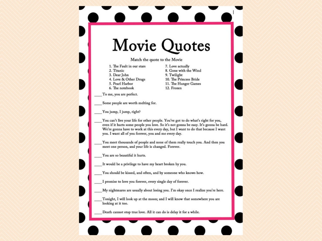 Famouse Love Quotes Movie Quote Game Famous Love Quotes Game Movie Game Black