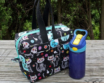 Insulated Lunch Bag Lunch Box Cooler Rectangle Skelekitty Day of the Dead Made To Order
