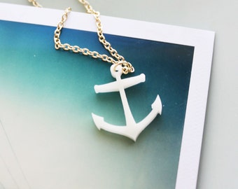 Anchor Necklace - Nautical Style Gold and White