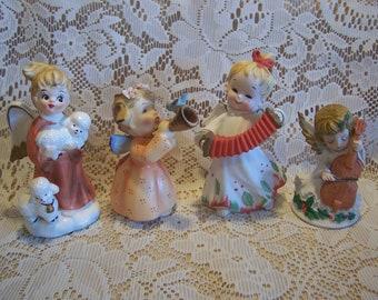 Four Assorted Lefton Angel Figurines