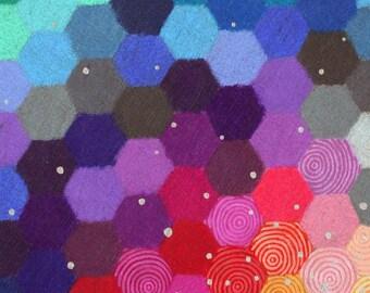 Small Neat Worlds II art print, hexagon honeycomb pattern, colourful geometric art, handpainted stars,