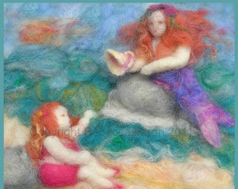 Printed Note Card - The Gift -image from wool painting -  Waldorf Inspired Mermaid Greeting card