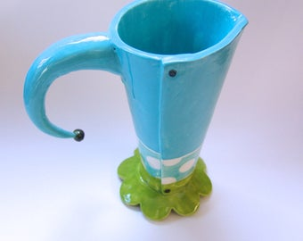 pottery polka dot pitcher or vase whimsical Alice in Wonderland lime & turquoise Mad Hatter tea pitcher
