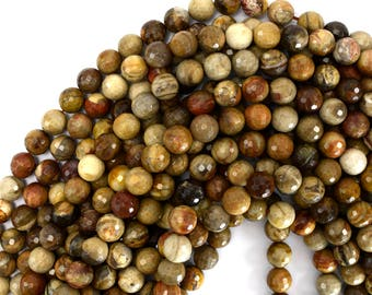 """10mm faceted petrified wood agate round beads 15"""" strand S1 39419"""