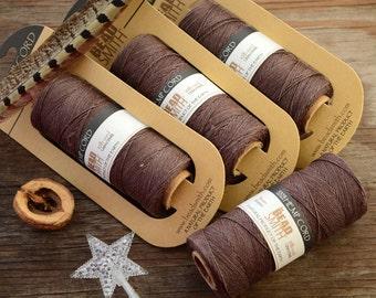 Chocolate Brown Natural Hemp Cord, 20lb cord, spool of 60 meters (197 feet) / Cording, Stringing, Macrame, Eco Friendly Cord / Supplies