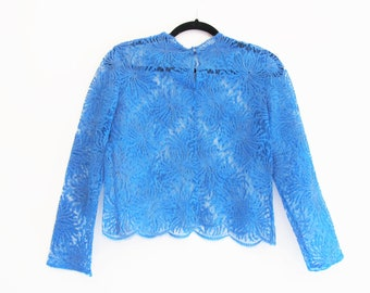 Vintage 1950s 1960s Lace Blouse Blue Lace Blouse Floral Lace Semi Sheer See Through Scalloped Lace Top Long Sleeve Cropped S/M