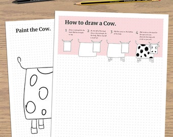 How to Draw a Cow- Drawing for kids - Printable PDF