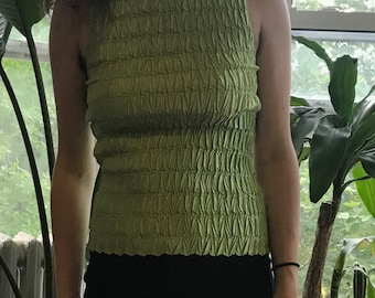 00's era lime green ruched tank