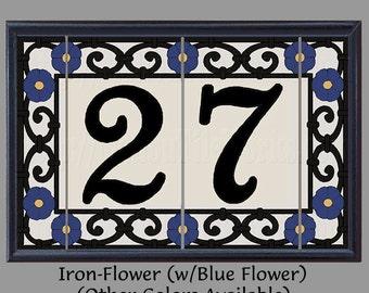 Iron Flower House Numbers Address Tiles Decorative Framed Set - Spanish Iron Flowers Design