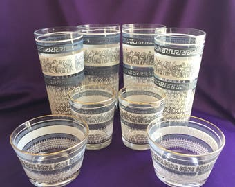 Vintage set of Jeanette glass (Greek or Roman design) glassware