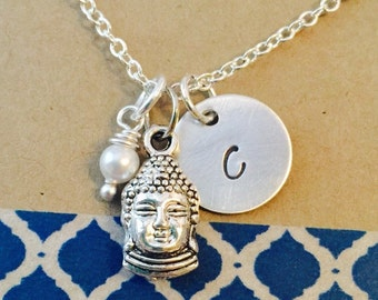 Hand Stamped Buddha Initial Necklace with Pearl