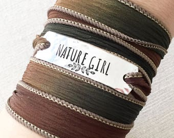 Nature Girl Wrap Bracelet, Nature Lover Gift, Nature Jewelry, Nature Girl Jewelry, Nature Bracelet, Hand Stamped Jewelry