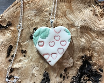 Ceramics heart pendant with a sterling silver chain