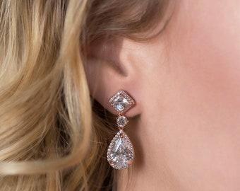 Rose Gold Earrings Wedding Jewelry Long Drop Earrings Bridal Accessories Teardrop Earrings Rose Gold Bridal Jewelry Crystal Earrings E148-RG