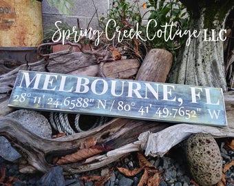Coastal Living, Custom Coordinates, Latitude & Longitude Signs, Modern Rustic, Signs, Lake, GPS, Wood Signs, Handpainted, Personalized Signs