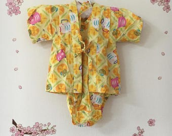 Baby Toddler Kimono, Yellow Traditional Design, Baby Kimono, Child Kimono, Baby Gifts, Baby Jinbei, Photo Prop Idea, Ninja Outfit, Kawaii