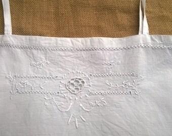 Victorian Tank Dress White Cotton Cut Work Hand Embroidered French 1900's Handmade  Medium Large #sophieladydeparis