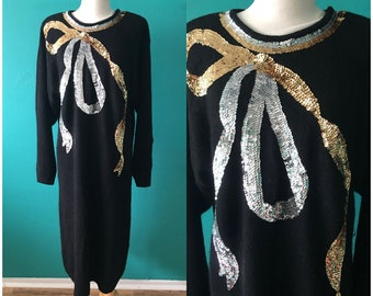 Vintage 1980s Black Knit Sweater Dress Gold Silver Sequins Silk Angora