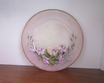 Hand Painted China Plate of Pink and Lavender Fuschias, Wall Decor, Vintage, Rose China Japan