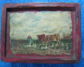 Vintage Small Wooden Box with Farm Scene on Cover