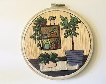 House Plant Art, Embroidery Hoop Art, Boho Rug, Boho Decor, Wall Decor, Unique Gifts, Peach Home Decor, Plant Embroidery,