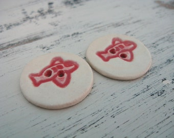 Two Buttons - Red Airplane Buttons - Ceramic Buttons - Child