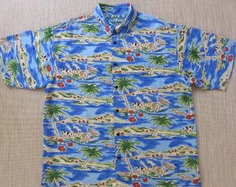 BIG DOGS Hawaiian Shirt Tropical Hawaii Island Aloha Shirt Sport Fishing Copyrighted Print Mens Camp - XL - Oahu Lew's Shirt Shack