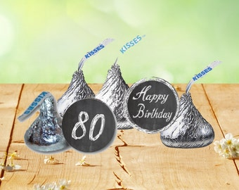 80th Birthday Hershey Kiss Stickers, Hershey Kiss Birthday Labels, 80th Birthday Stickers, 80th Celebration
