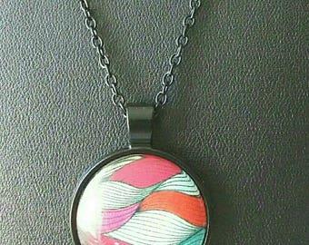 Necklace black wave pattern