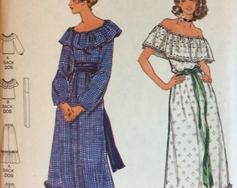 1970s Vintage Blouse, Maxi Skirt and SlipSewing Pattern