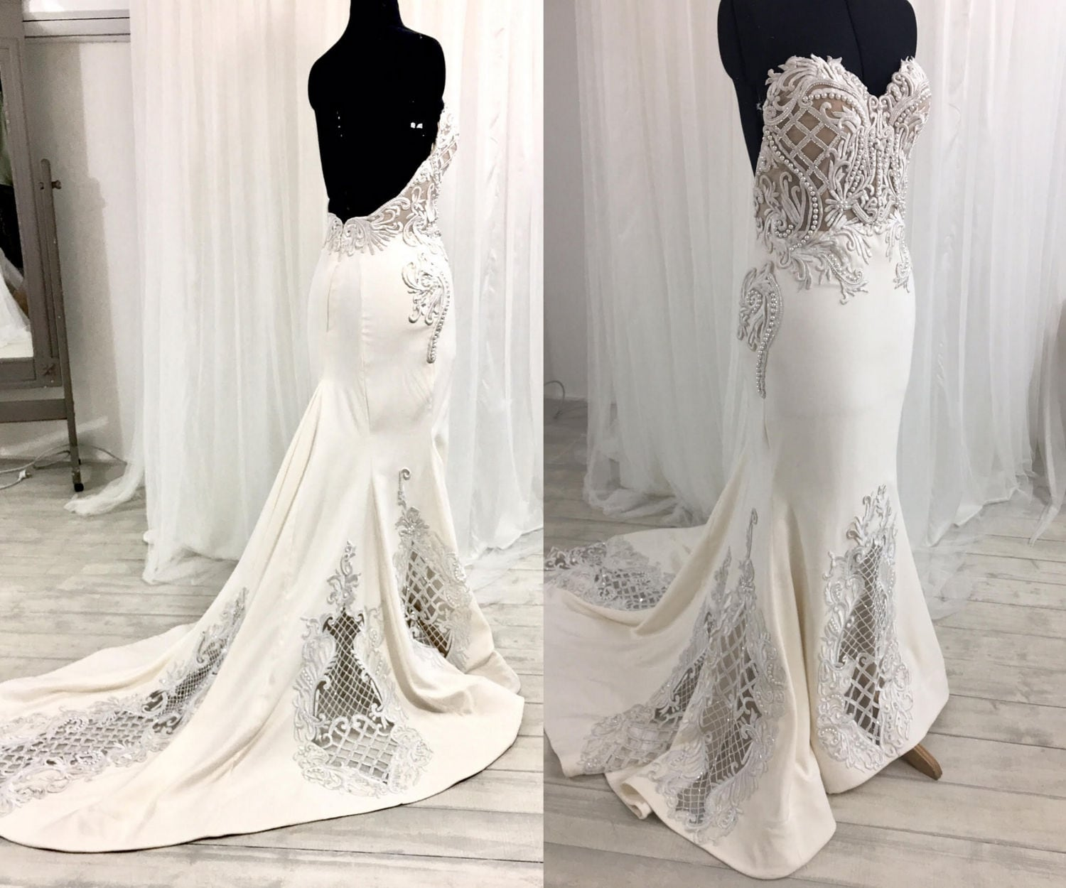Low Back Wedding Dress Lace Wedding Dress Strapless Wedding
