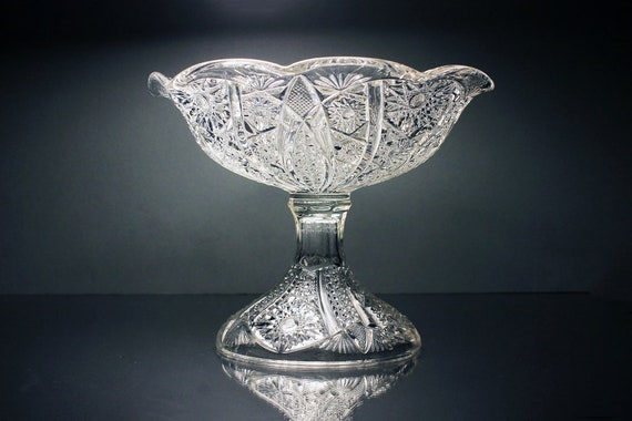 Antique EAPG Compote Bowl, Hobstar Pattern, 1800s, Pressed Glass, Clear Glass, Centerpiece