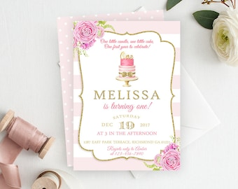 Pink First Birthday Invitation, Pink and Gold Invitation, 1st Birthday, Printable Invitation, Gold Glitter, Girl Birthday, First Birthday