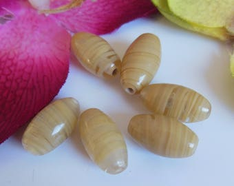 set of 6 glass olive shaped beads