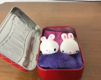 Mini Squishy Bunny Twins with bedding set from Squishyville
