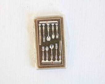 Miniature Silverware, Dollhouse Silverware, Mini Silverware Tiny Silverware Miniature Spoons Miniature Forks Miniature Knives, Setting for 2