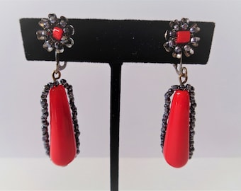 Vintage Signed Miriam Haskell Red Dangle Earrings