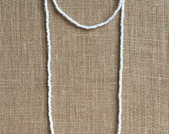 Double wrap white seed beads necklace, Wrap necklace, Long white necklace