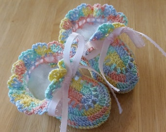 Baby Shoes Baby Girl Booties Crochet Baby Booties Pastel Colors Ruffles Newborn Baby Girl Reborn Doll Baby Shower Gift Christening Booties