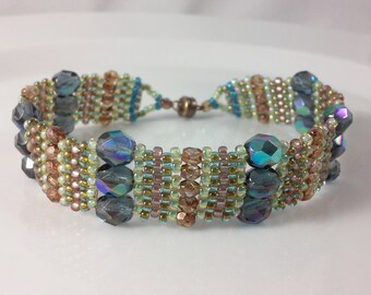 Blue, Topaz, Woven Bracelet, beadweaving, iridescent blue fire polished beads with beige, green, blue seed beads