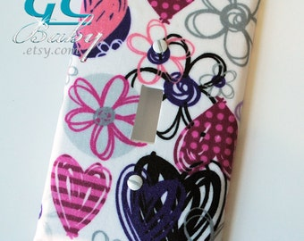 Fun Hearts & Flowers Light Switch and Outlet Covers - Any cover style Pole, Rocker, Duplex, Toggle, Decorator or Combination